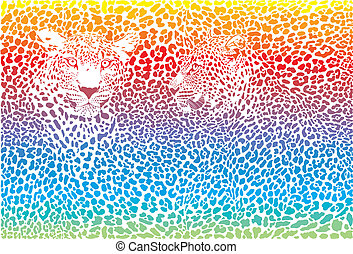 Leopard rainbow pattern background - rainbow illustration...