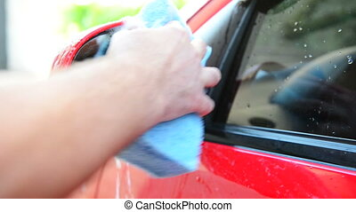 close view of car washing