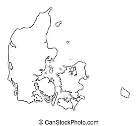 Denmark outline map with shadow Detailed, Mercator...