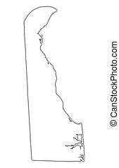 Delaware(USA) outline map