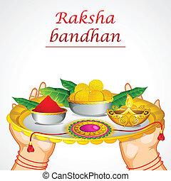 Hand holding Raksha Bandhan Thali