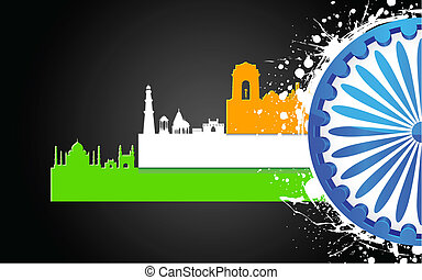 Indian Culture - illustration of famous monument of India in...