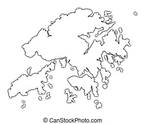 Hong Kong outline map with shadow. Detailed, Mercator...