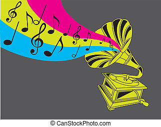 gramophone - colorful gramophone over gray background....