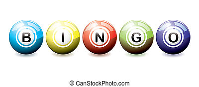 Bingo balls - Brightly coloured bingo balls with light...