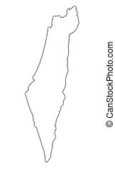 Israel outline map with shadow. Detailed, Mercator...