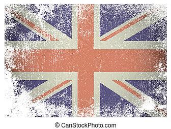 Grunge british flag - British flag with grunge aged effect...