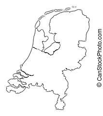 Netherlands outline map with shadow Detailed, Mercator...