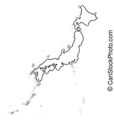 Japan outline map with shadow. Detailed, Mercator...