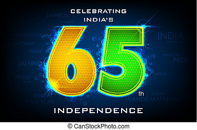 Celebrating 65th Independence Day of India - illustration of...