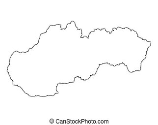 Slovakia outline map with shadow Detailed, Mercator...