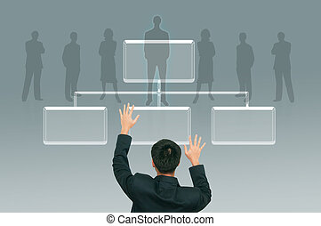 Business man climbing transparent button on the digital screen  background, career path concept