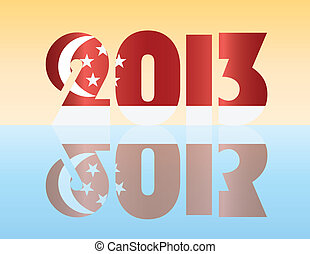New Year 2013 Singapore Flag Illustration - Happy New Year...