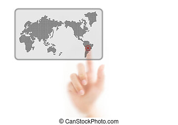 man finger pressing a worldmap touchscreen button with index finger on south america, isolated on a white background.