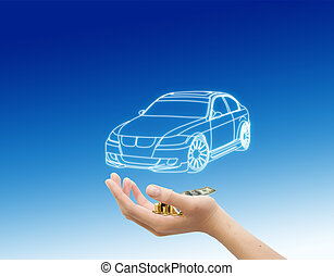 hand and car with money, car buying concept