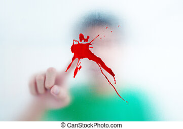 Human finger pressing spalt blood screen