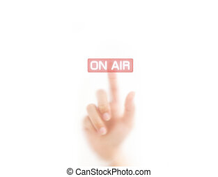 man finger pressing an on air button, isolated on a white background.