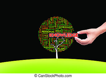 hand picking Business word cloud concept in tree form on...