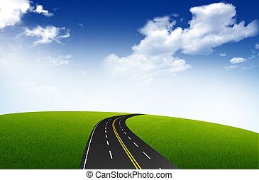 Picture of empty road leading toward horizon and blue sky