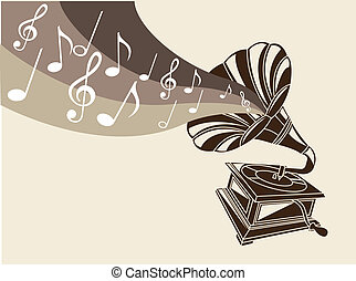 vintage gramophone with musicals notes vector illustration