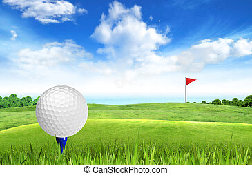 Golf ball on tee off with sea view over the blue sky...