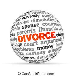 Divorce - 3d Divorce Word Sphere on white background.