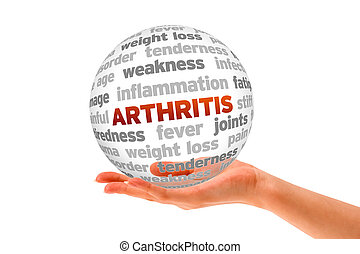 Arthritis - Hand holding a Arthritis Word Sphere on white...