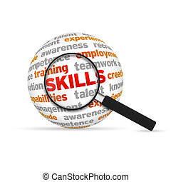 Skills 3d Sphere with magnifying glass on white background.