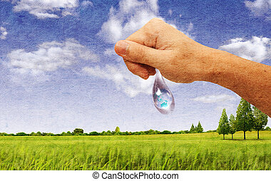 A large drop of water hands. The symbol of environmental protection