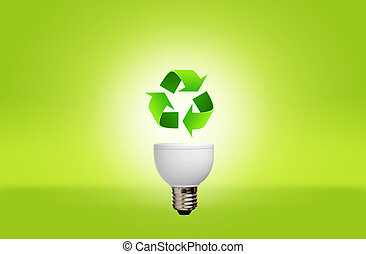 Lamp with recycle symbol for green eco concept