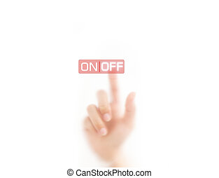man finger pressing OFF button, isolated on a white background.