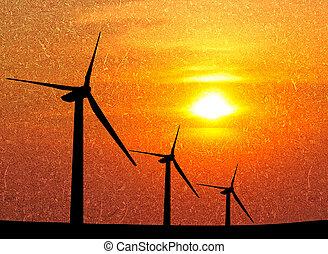 azul,  grunge, sobre, céu, verde, turbina, capim, vento, nublado