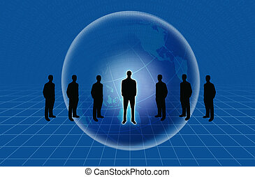 Group of business people standing against earth and world map blue background
