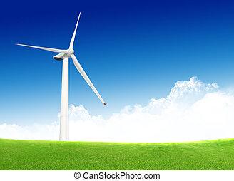 azul, sobre, céu, verde, turbina, capim, vento, nublado