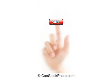 man finger pressing sale button, isolated on a white background.