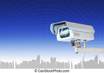 Security Camera or CCTV on blue digital background