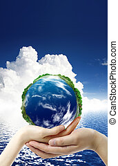 Hands and Earth Symbol of environmental protection
