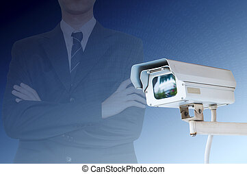 Security Camera or CCTV on digital background
