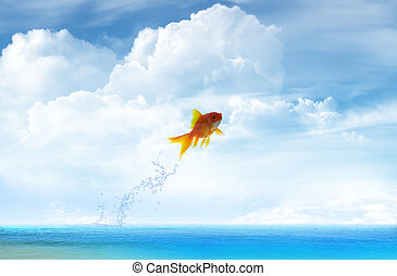 Goldfish jumping up with sky background
