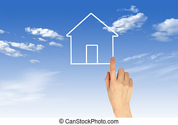 The House and hands with blue sky as a symbol of the real estate business.
