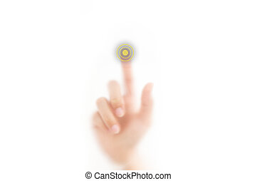 man finger pressing a touchscreen button with index finger, isolated on a white background.