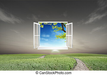Window open to the new world, for environmental concept and...