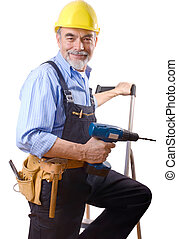 repairman - happy repairman with drill and tool-belt