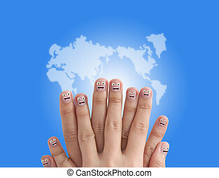 Social network concept with smiling finger group