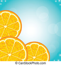 orange fruit over blue background. vector illustration