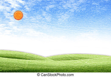 Beautiful landscape on green grass over the blue sky background