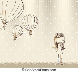 cute girl with hot air balloons, vintage vector illustration...
