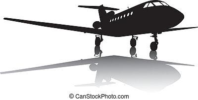 avión, silueta