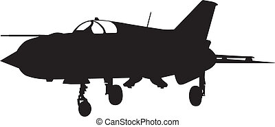 Fighter - Vector silhouette of Mig-21 Fishbed jet fighter...