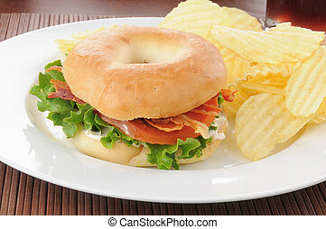 Bacon lettuce tomato sandwich with chips